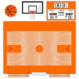 Basketball field vector illustration. Infographics for web pages, sports broadcasts, strategies backgrounds. Ball, basketball case, scoreboard stock illustration