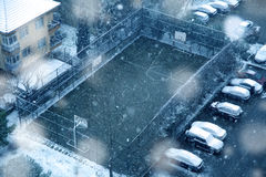 Basketball field in winter time Stock Photography
