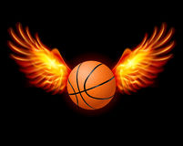 Basketball-Fiery wings. A color illustration on a black background Royalty Free Stock Photos