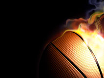 Basketball on fire stock illustration