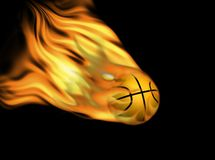 Basketball on fire. Real basketball ball with abstract flames on black Stock Photos