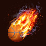 Basketball On Fire. On dark background Royalty Free Stock Photos