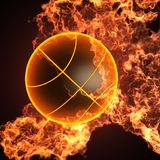 Basketball in fire. Made in 3D Royalty Free Stock Photo