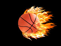 Basketball on fire. N a black background Royalty Free Stock Photo