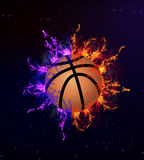Basketball on fire. Basketball ball on fire, vector art illustration Stock Photography