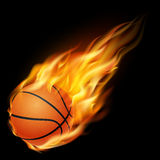 Basketball in fire on a black background Royalty Free Stock Image