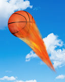 Basketball on Fire. Royalty Free Stock Images