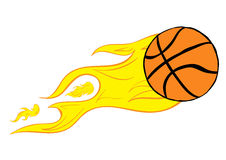 Basketball on fire Royalty Free Stock Image