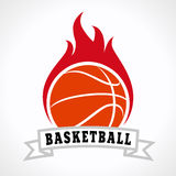 Basketball fire logo. Template logo for a basketball club or competition. Flaming basketball ball. Fiery sign, vector logo of teams, national competitions, union Stock Image