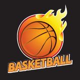 Basketball on fire tournament logo. Vector illustration Stock Images