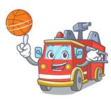 With basketball fire truck character cartoon. Vector illustration Royalty Free Stock Photo
