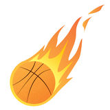 Basketball in Fire. Vector illustration of a Basketball in Fire isolated on white Stock Photos