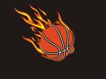 Basketball fireball. Black hair on the floor with basketball fever vector illustration