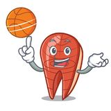 With basketball fish slice character cartoon. Vector illustration Royalty Free Stock Images