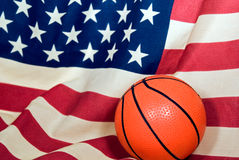 Basketball on flag Stock Photos