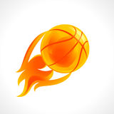 Basketball flame logo. Basketball vector logo. Basket, ball and fiery sportsman player sign. Branding symbol of teams, national competitions, union, matches Royalty Free Stock Photos