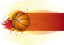 Basketball with flames Royalty Free Stock Image