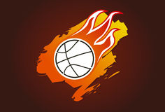 Basketball with flames Stock Photo