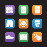 Basketball flat design icons set Stock Images