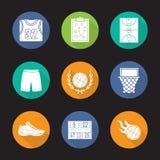 Basketball flat design long shadow icons set Stock Photography