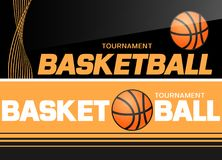 Basketball flyer or web banner design with ball icon Royalty Free Stock Photography