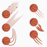 Basketball flying balls set with speed motion trails. Graphic design for sports logo. Vector. Basketball flying balls set with speed motion trails. Graphic Stock Photography
