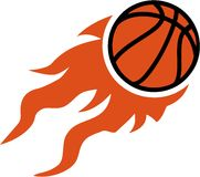Basketball flying on fire. Orange Royalty Free Stock Image