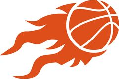 Basketball flying on fire. Orange Royalty Free Stock Images