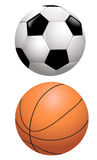 Basketball and football Stock Photography