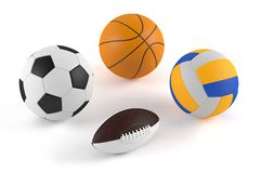 Basketball, football, volleyball, rugby balls Royalty Free Stock Photography