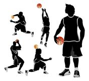 Basketball free style. Illustration of  basketball player in free style action Royalty Free Stock Images