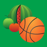 Basketball and fruit Royalty Free Stock Photos