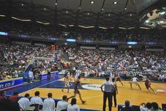 Basketball game. The Israeli national team vs. Latvia.Israel won 110-88 Royalty Free Stock Photography