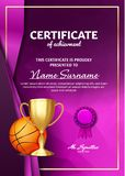 Basketball Game Certificate Diploma With Golden Cup Vector. Sport Graduate Champion. Best Prize. Winner Trophy. A4. Basketball Certificate Diploma With Golden royalty free illustration