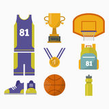 Basketball game competition elements vector sport illustration. Stock Images