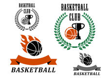 Basketball game emblems and symbols Royalty Free Stock Photos