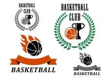 Basketball game emblems and symbols Royalty Free Stock Photos