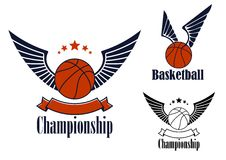 Basketball game emblems with winged balls Stock Photos
