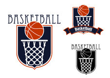 Basketball game icons with baskets and balls Royalty Free Stock Images