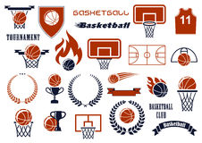Basketball game items for sport club, team design. Basketball balls, courts, baskets on backboards, winner trophies and jersey icons for sport club or team Royalty Free Stock Photography