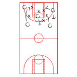 Basketball game plan Stock Images