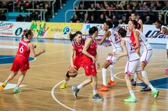Basketball game Russia Spain. Stock Photos