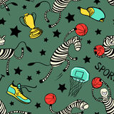 Basketball game seamless pattern with doodle cute zebra player. Stock Photos