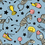 Basketball game seamless pattern with doodle cute zebra player Stock Images