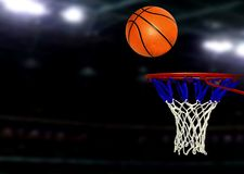 Basketball games under Spotlights Stock Image