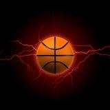 Basketball mit rotem Blitz Stockbild