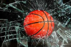 Basketball through glass. Royalty Free Stock Photos
