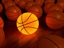 Basketball glow ball. Basketball glow game ball over the hardwood floor (3D Royalty Free Stock Photos