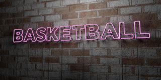 BASKETBALL - Glowing Neon Sign on stonework wall - 3D rendered royalty free stock illustration Royalty Free Stock Photography