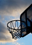 Basketball Goal. Outside Sillhouette with sky background royalty free stock image